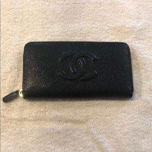 CHANEL Leather Zip Wallet